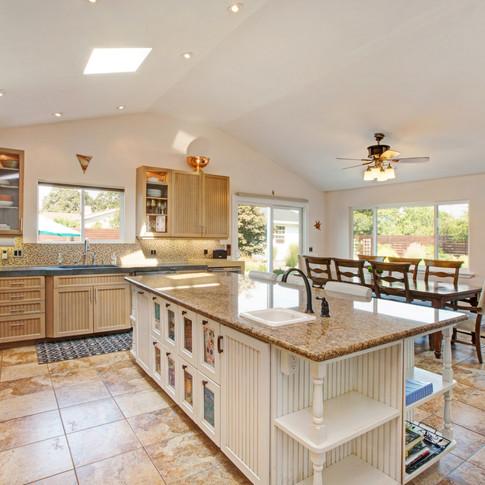 Kitchen with sliding doors to back yard