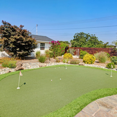 Putting green in back yard