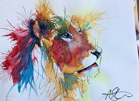 Lion in watercolor