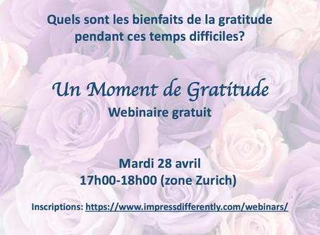 I-Zen vous propose un moment de gratitude! Wébinaire gratuit 28 avril 2020