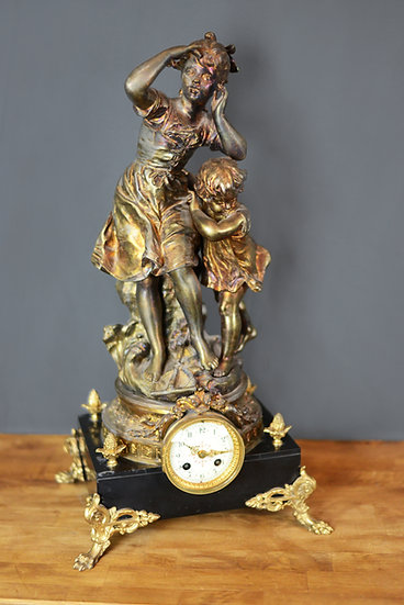 French Statue Mantel Clock