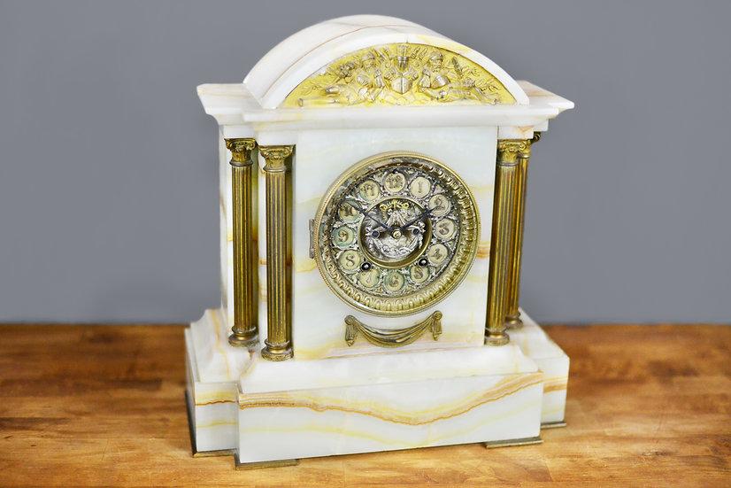 Ansonia Cream Stone Mantle Clock