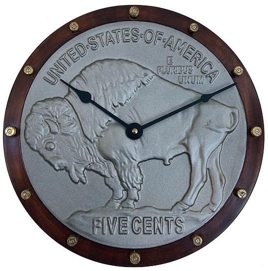 Buffalo Nickle Quartz clock made by Tim De Korte