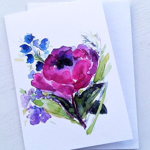 GREETING CARD, Purple Peony