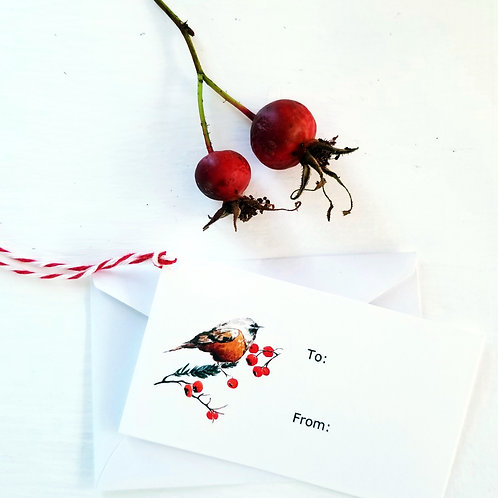 Gift tag, Robin & Berries