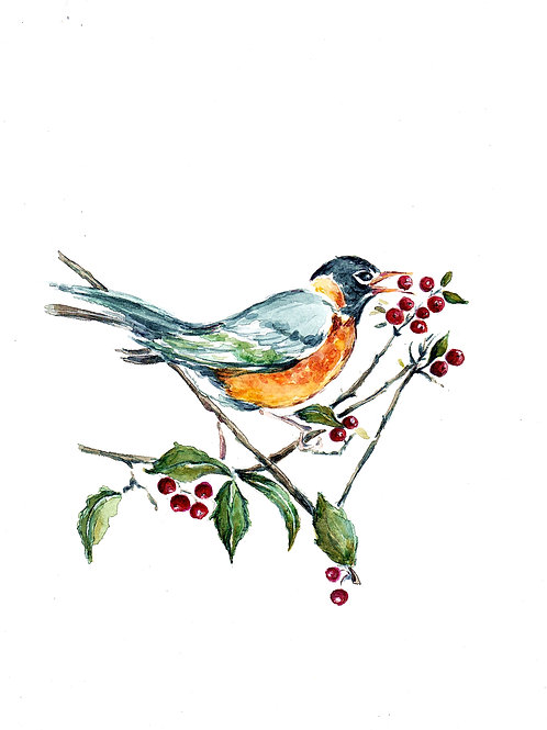 Robin In Holly SOLD