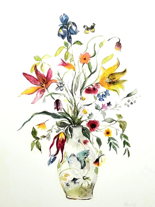 Bouquet and Butterfly's 1, Art Print