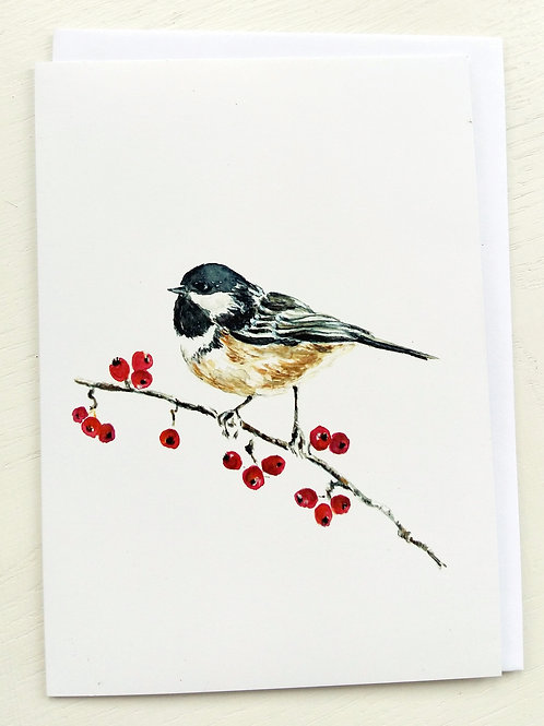 GREETING CARD, Chickadee & Berries SOLD OUT!