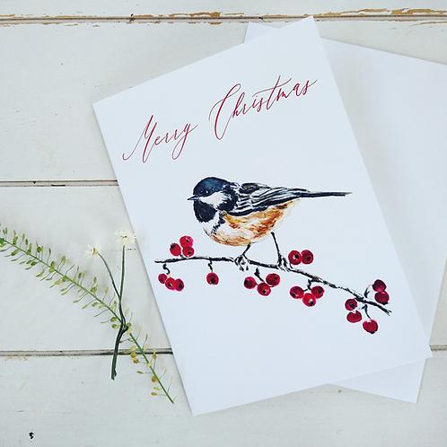 Merry Christmas Greeting Card, Chickadee & Berries