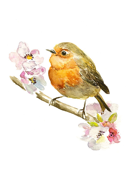 """Robin and Apple Blossoms ARCHIVAL GICLEE PRINT, 8"""" x 10"""""""