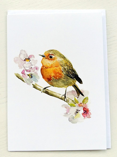 GREETING CARD, Robin & Apple Blossoms