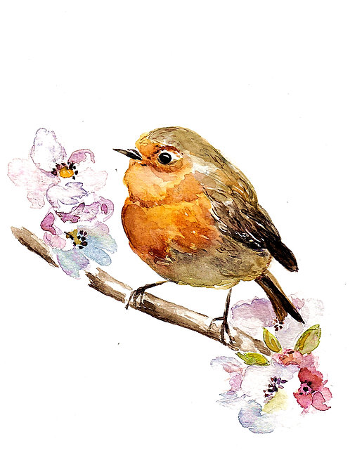 Robin in the Apple Blossoms, SOLD