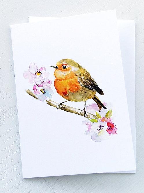 NOTECARD, Robin & Apple Blossoms