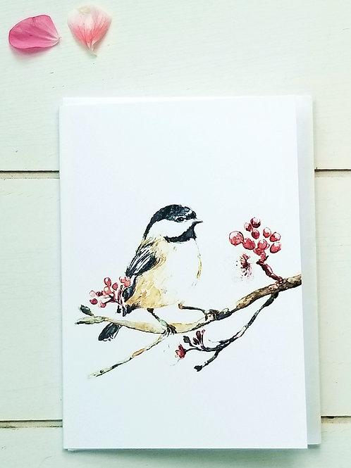 NOTECARD, Chickadee & Cherry Blossoms