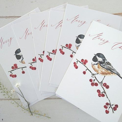 Bundle of 6 Christmas Cards Chickadee & Berries