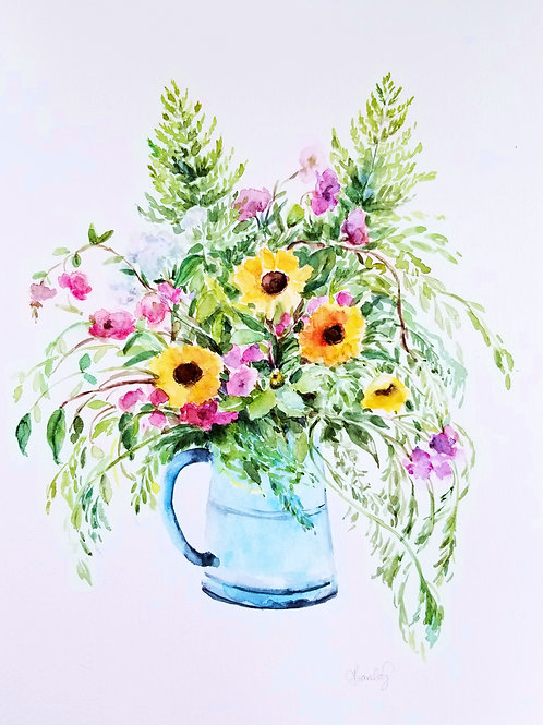 Wildflowers & Blue Vase