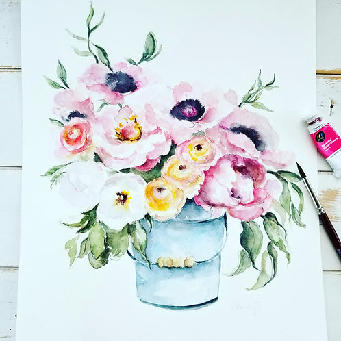 Peony's in a Bucket  original painting