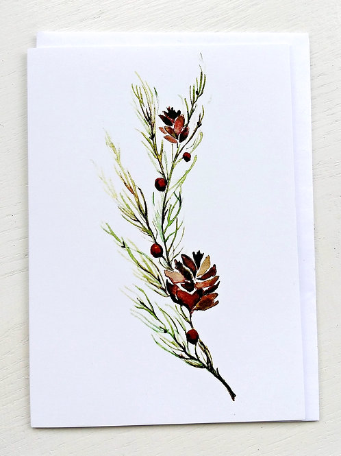 """Pine Cone Bough"" GREETING CARD"