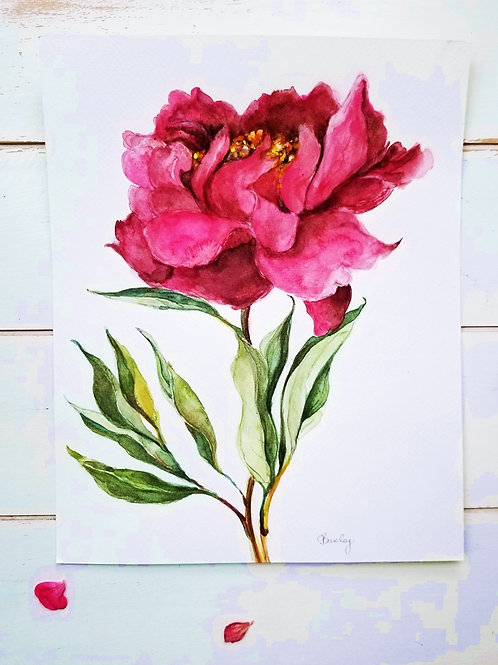 Red Peony,Original Painting