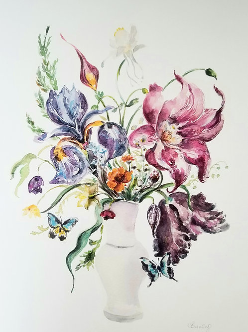 Bouquet and Butterfly's, original watercolour