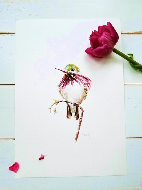 Hummingbird on a Branch, Original Painting