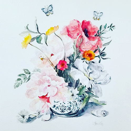 Bouquet, Butterfly's and Seashells, original painting