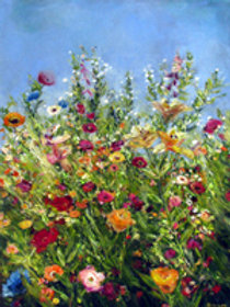 Artists Garden, Lilys and Soft Sky, SOLD