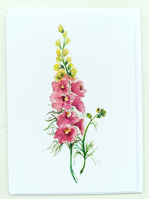 GREETING CARD, Pink Delphinium, SOLD OUT