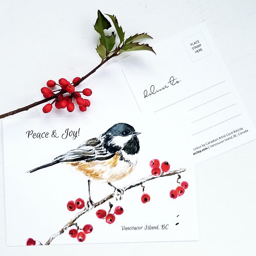 Postcard, Chickadee & Berries, SOLD OUT!