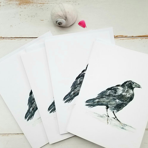 Raven, Greeting Cards, Bundle of 4