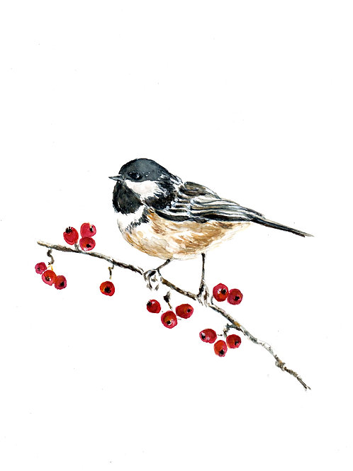 Chickadee and Berries SOLD