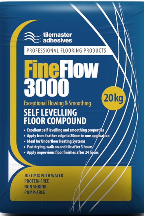 Tilemaster Fine Flow 3000 Free Flowing Heavy Duty Self Levelling Compound 20kg F