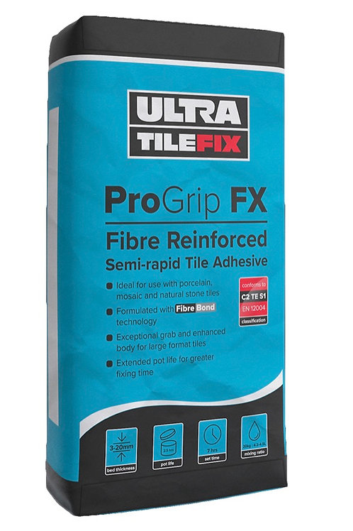Ultra Tile Fix ProGrip FX Fibre Reinforced Semi-Rapid Flexible S1 Adhesive Grey
