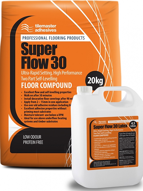 Tilemaster Super Flow 30 Ultra-Rapid Set High Performance 2-Part Smoothing Compo