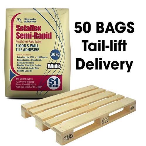 Tilemasters Setaflex Semi-Rapid White S1 Adhesive Full Pallet