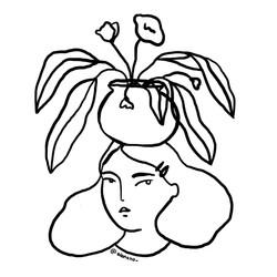 Florero en la cabeza