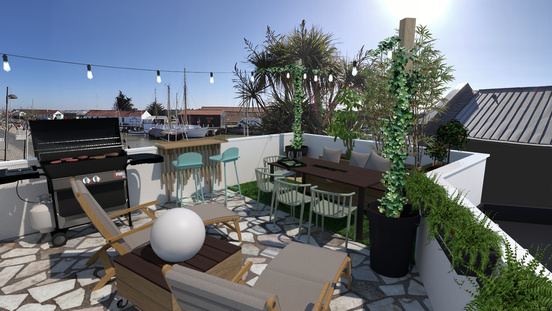 aménagement d'une terrasse sur le port de noirmoutier