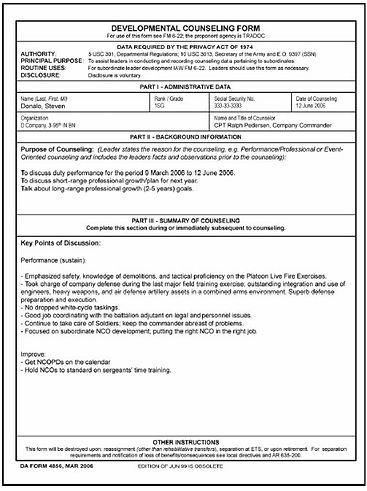 ncoer template - example of da form 4187 for separation