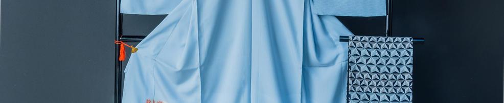 風通御召名物裂柄 縫取り御召小袖 × 幾何学模様袋帯