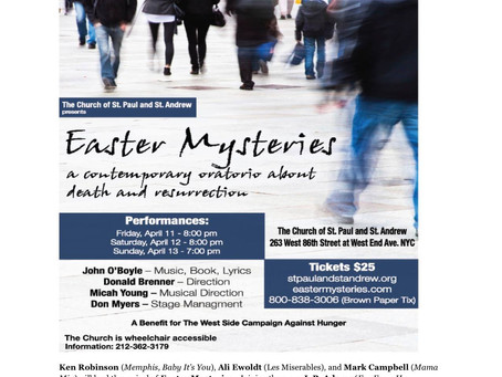 Sarah is Featured in Reading of New Oratorio EASTER MYSTERIES