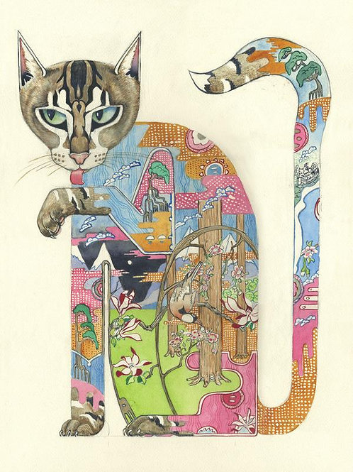 "Wenskaart ""Cat licking it's paw"""