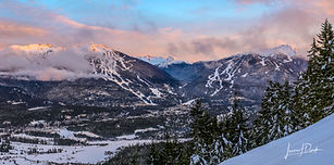 Whistler, British columbia, mountains, snow, trees, ski run, clouds, sunset