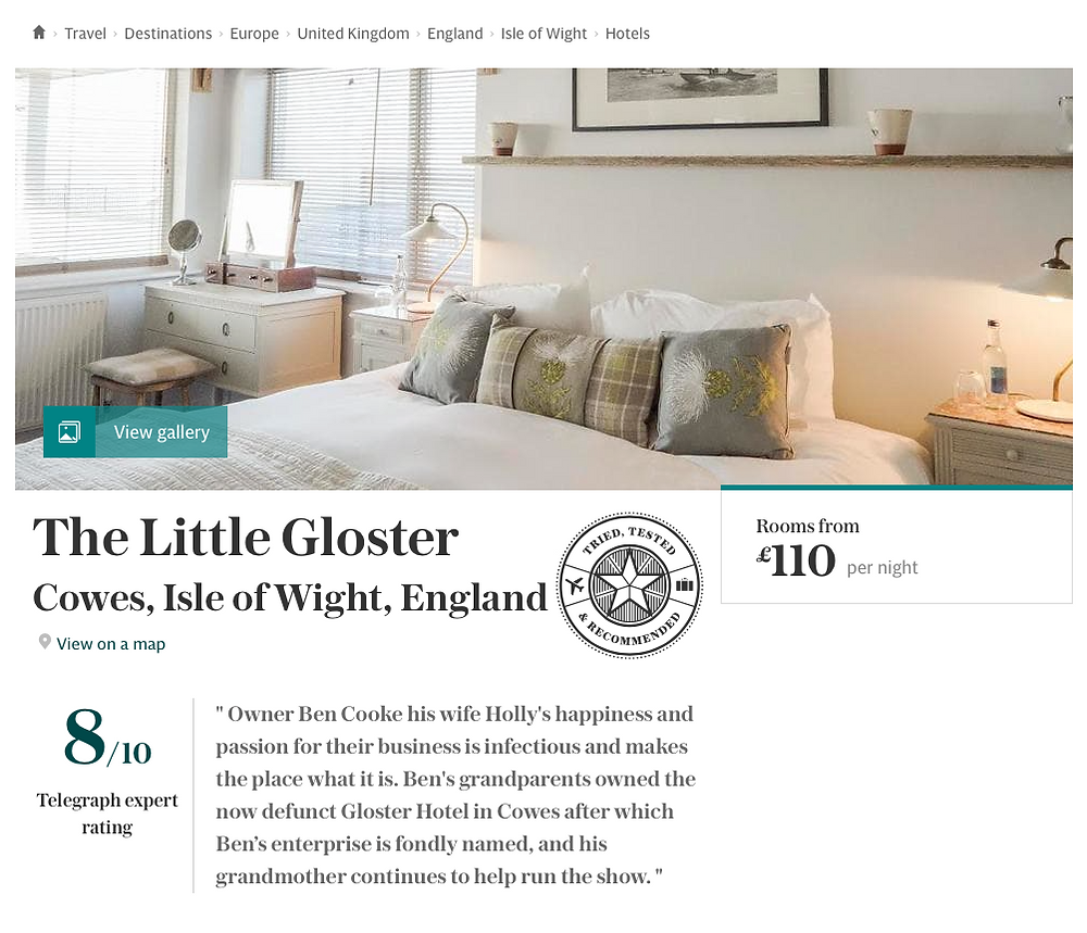 Press clipping 'The Telegraph' - 'Best Hotels Isle of Wight'