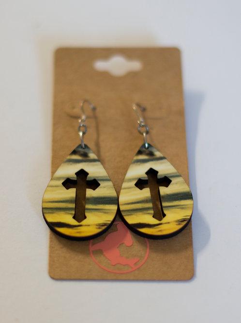 Sunset earrings, Teardrop, Handmade