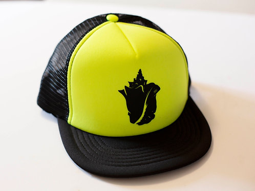 Conch shell, neon green, trucker hat