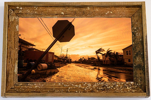 Recycled trap wood frame, Hurricane irma, Florida keys,12x15
