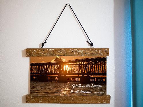 Bahia honda bridge canvas scroll, Lobster trap wood