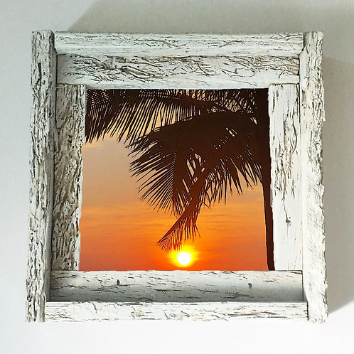 Palm tree sun ball , small frame, Florida keys , Small frame size 6x6