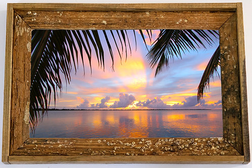 Recycled trap wood frame, Palm trees sunset, Florida keys,12x15