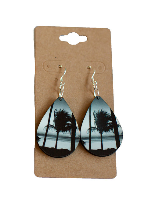 Palm tree earrings, Teardrop, Handmade